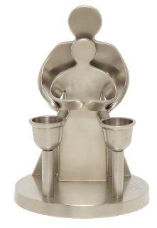 "Shabbat Sabbat Candle Holders / Sticks ""Our Love"" Blessing Pewter 6.0"" x 4.25"" . Great Gift For Rosh Hashanah Sabbath Purim Sokot Simchat Torah Hanukkah Passover Lag Baomer Shavuot Rabbi Bridesmaid Temple Shul Chupah Wedding Housewarmi"