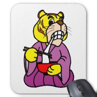 Tiger ~ Tigers Asian Chop Stick Cartoon Mouse Pad
