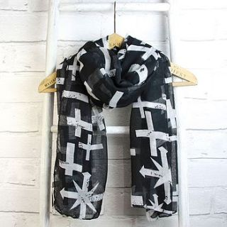 arrows and crosses scarf in black by lisa angel