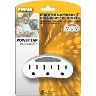 Prime Outlet Power Tap with Photocell Nightlight, White Electrical