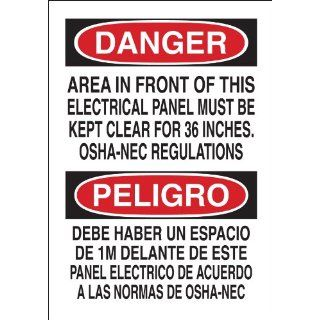 "Brady 90543 Self Sticking Polyester Bilingual Sign, 14"" X 10"", Legend ""Area In Front Of This Electrical Panel Must Be Kept Clear For 36 Inches OSHA Nec Regulations/Debe Haber Un Espacio De 1 M Delante De Este Panel Electrico Segun Las Normas"