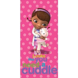 "Doc McStuffins Beach Towel Lambie & Dottie ""Looks Like You Need a Cuddle"""