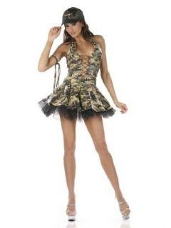 Sexy Army Military Girl Costume   SMALL: Clothing