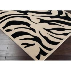 Hand tufted Black/White Zebra Animal Print Glamorous Wool Rug (8' x 11') 7x9   10x14 Rugs