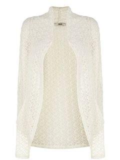 Oasis Lace drape cardigan Off White