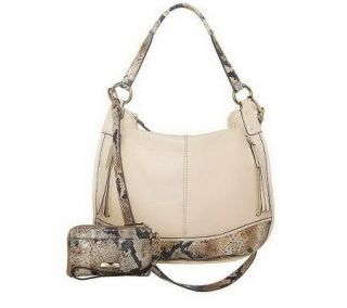 As Is B. Makowsky Pebble Leather Convertible Hobo —
