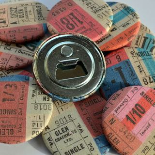 magnetic bottle opener   tickets fabric by grace & favour home