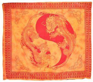Alterras   100% Baumwolle Dekortuch: Yin Yang Drachen orange (LxB: 245x210cm): Küche & Haushalt