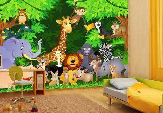 Fototapete Urwaldparty Kinder KT260 Gr��e 420x270cm Tapete Dschungel Tiere Bunt Küche & Haushalt