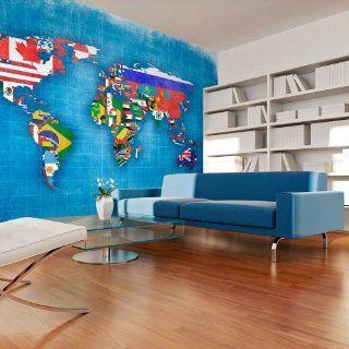 Vlies Tapete  Top  Fototapete  Wandbilder XXL  350x270 cm   Weltkarte  10040910 20 Küche & Haushalt