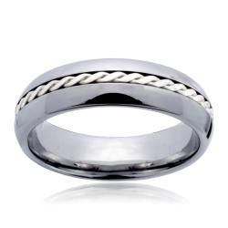 Tungsten Carbide Silver Rope Inlay Beveled Edge Ring Men's Rings