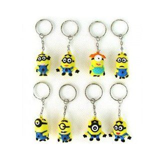 3cm Despicable Me 2 Minions Figure Keychain Cartoon Model Key Ring   Set of 8: Everything Else