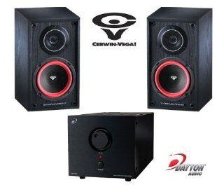Cerwin Vega VE5M 125 Watts 2 Way Home Audio Bookshelf Speaker (Pair, Black) + Dayton Audio APA150 150W Power Amplifier Electronics