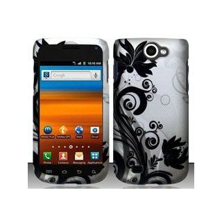 Samsung Exhibit II 4G T679 (T Mobile) Black/Silver Vines Design Hard Case Snap On Protector Cover + Free Wrist Band: Cell Phones & Accessories