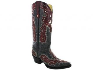 Corral Boots Women's overlay with Studs Black Leather Cowgirl Boots 10 M: Shoes