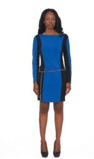 Women's Shift Colorblock Dress Gold Color Ribbon Belt Long Sleeve at  Women�s Clothing store: