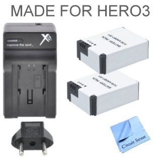2 Pack Ultra High Capacity (1600 mAh) GoPro AHDBT 301 Replacement Batteries + 1 GoPro AWALC 001 Replacement Charger + CS Microfiber Cleaning Cloth  Camera & Photo