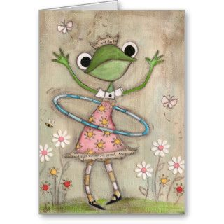 Hula Hoop Frog   Birthday Card