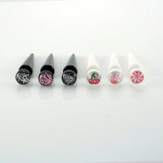 Black Acrylic Fake Tapers with Glitter Diamond Logo   16G (1.2mm) Wire   Sold as a Pair Tapered Body Piercing Plugs Jewelry