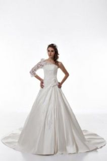 GEORGE DESIGN One Shoulder Lace Princeless Satin Chapel Train Wedding Dress at  Women�s Clothing store