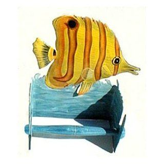 """Hand Painted Metal Yellow Tropical Fish Toilet Paper Holder   8"""""""