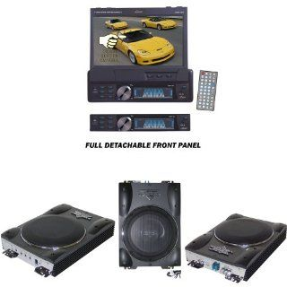 Lanzar Car DVD Player and Amplified Subwoofer Package   SDBT73N 7'' Single Din In Dash Motorized Touch Screen TFT/LCD Monitor With DVD/CD//MPEG4/USB/SD/AM/FM/RDS Receiver   VCTBS8 Vector 8'' Ultra Slim 600 Watt High Power Amplified Subwo