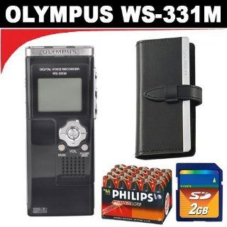 Olympus WS 331M Digital Voice Recorder and WMA Music Player + Olympus WS 331M   Case For Digital Voice Recorder + 20 Pack Philips Power Life AA Batteries + 2GB SD Memory Card Electronics