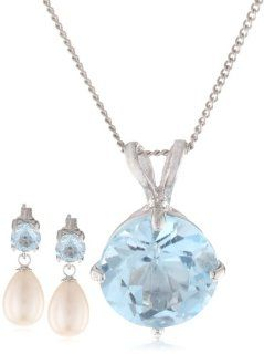 5 8mm Round Swiss Blue Topaz Sterling Silver and Freshwater Cultured Pearl Jewelry Set: Jewelry