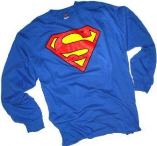 Superman Classic Shield Adult Long Sleeve T Shirt Home & Kitchen