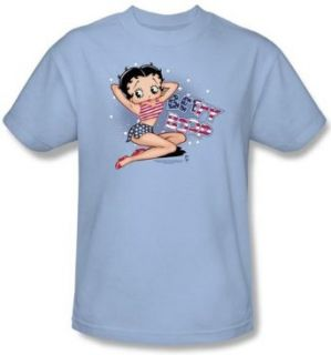 Betty Boop Kids T shirt All American Girl Youth Light Blue Tee Shirt: Clothing
