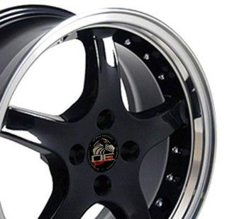 Cobra R 4 Lug Deep Dish Style Wheels with Rivets and Machined Lip Fits Mustang (R)   Black 17x8 Set of 4 Automotive