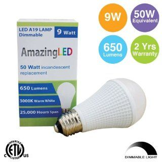 LED Light Bulbs A19, 110V, 9W, E26, 650 lumens, Warm White, 50W Equivalent, Dimmable, Samsung chip 2 Years Warranty   Led Household Light Bulbs