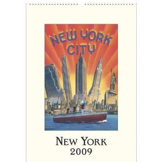 New York City Cavallini 2009 Vintage Prints Wall Calendar 13 by 19 inches cream laid paper finish