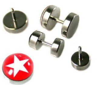 Fake Piercing Ear Plugs with Star Design   Sizes: Small Sold as a Pair: Body Jewelry Plugs: Jewelry