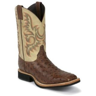 Justin Men's Aqha Full Quill Ostrich Cowboy Boot Square Toe Shoes
