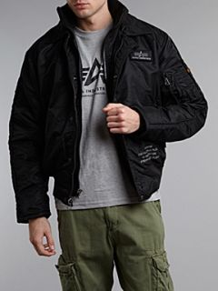 Alpha Industries Skymaster bomber jacket with double zip detail Black