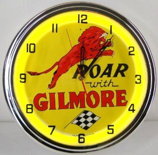 """ROAR WITH GILMORE 15"""" NEON LIGHTED WALL CLOCK GASOLINE GAS FUEL PUMP OIL TANKER SIGN YELLOW"""