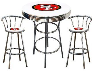 San Francisco 49ers Logo Themed 3 Piece Chrome Metal Finish Bar Table Set with 2 Swivel Seat SF49ers Logo Themed Bar Stools   Home Bars