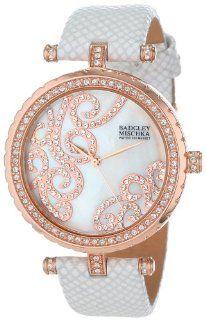 Badgley Mischka Women's BA/1264WMRG Swarovski Crystal Accented Rose Gold Tone White Leather Strap Watch Watches