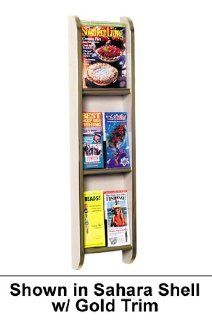 WM 3 Wall Mounted Vertical 3 Pocket Magazine Rack / 6 Pocket Brochure Holder in Wild Cherry with Matching Trim from ABC Office  Literature Organizers