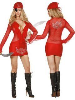 Sexy Red Mesh Skull Dress Pirate Costume   MEDIUM Clothing