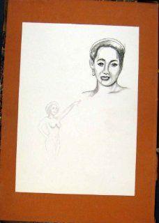 Lady Woman Face Portrait Sketch Pencil Drawing Art Old   Prints