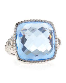 Blue Quartz Cushion Cut Ring, Size 7
