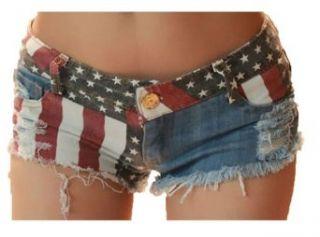 Nsstar Sexy Girls American Us Flag Mini Jeans Shorts