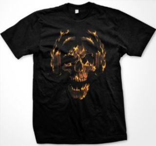 Hot Head Mens T shirt, Liquid Blue Flaming Skull And Headphones Design Mens Shirt Clothing