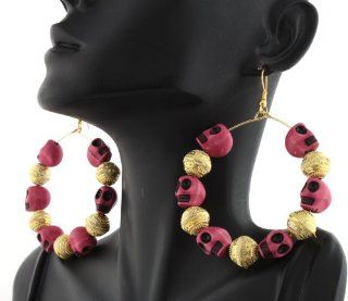 2 Pairs of Basketball Wives Alternating Dark Pink Skulls & Gold Beads Style 2 Inch Dangling Hoop Earrings Poparazzi: Jewelry