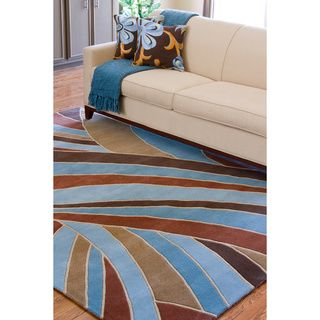 Hand tufted Contemporary Blue Striped Mayflower Wool Rug (5' x 8') 5x8   6x9 Rugs
