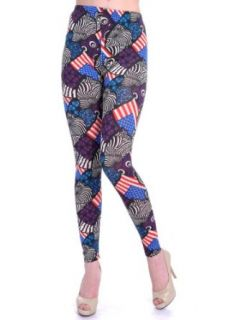 Anna Kaci S/M Fit Multicoloured Mixed Animal Geometric & USA Flag Print Leggings at  Women�s Clothing store: Leggings Pants