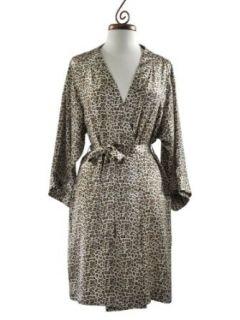 Dynasty Robes 100% Silk, Women's Short Leopard/Animal Print Robe with Kimono Collar
