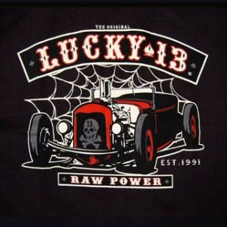 Lucky 13 Raw Power T Shirt Rat Rod Tattoo Punk NEW, X Large: Clothing
